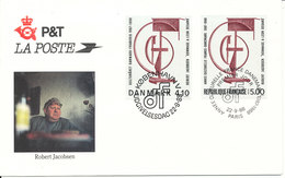 Denmark / France FDC 22-9-1988 Joint Issue ART Stamp Robert Jacobsen With Cachet - Joint Issues