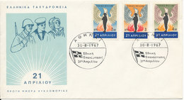 Greece FDC 30-8-1967 National Revolution Complete With Cachet - FDC