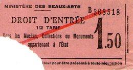 B 1784 - Biglietto D'ingresso, Ministero Delle Belle Arti, Francia - Biglietti D'ingresso