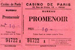 B 1785 - Biglietto D'ingresso, Casino De Paris, Francia - Biglietti D'ingresso