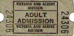 B 1786 - Biglietto D'ingresso, Victoria And Albert Museum, London - Biglietti D'ingresso
