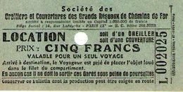 B 1787 - Ricevuta Ferrovie Francesi - Biglietti Di Trasporto