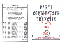 CARTE D'ADHERENT N°196726  PARTI COMMUNISTE FRANCAIS  1983 - Cartes