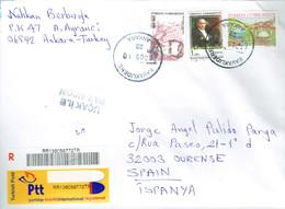 TURKEY 2010 USED COVER  REGISTRERED KEMAL ATATURK BURSA MUZAFER SARIZOSEN COMPOSER - Covers & Documents