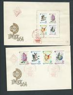 Hungary 1964 Imex Mexico Exhibition Strip Of 4 & Miniature Sheet On 2 FDC Clean Unaddressed - Hungary