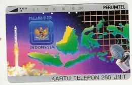 INDONESIA : 031 280u Satellite And Map Of Indonesia USED - Indonesia