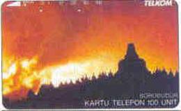 INDONESIA : 127 100u BOROBUDUR AT SUNSET USED - Indonésie
