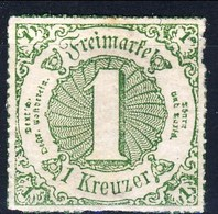 Germania Thurn Und Taxis S 1865 UN N. 45 Kr 1 Verde Giallo M Cat. € 17 - Thurn Und Taxis