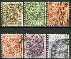 Germania Wurttemberg 1881 - 1907 UN Sei Valori Usati Cat. € 5 - Wuerttemberg