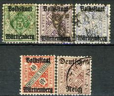Germania Wurttemberg 1919 UN Cinque Valori Usati Cat. € 2.50 - Wuerttemberg