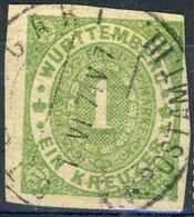 Germania Wuttenberg 1869 UN N. 36 Kr 1 Verde Usato Cat € 5 - Wuerttemberg