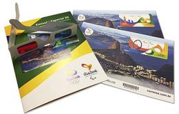 BRASIL 2016 - Kit Con 2 Bloques 3D. Entrega De Las Banderas Olímpica Y Paralímpica - Verano 2016: Rio De Janeiro