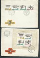 Hungary 1967 Aerofila Strip Of 4 & Miniature Sheet On 2 FDC Registered To London - Hungary