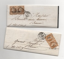 E17040001 A Saisir Lot De 2 LAC  Paire 13 A Et 13 B Napoléon III Cachet Dijon 1858 Et 1860 Et Losange 1102 - 1853-1860 Napoléon III