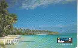 FIJI ISL.(GPT) - Beach Scene, Fiji Posts & Telecommunications First Isssue $10, CN : 01FJD, Tirage 8000, Used - Fiji