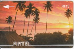 FIJI ISL.(GPT) - Palms & Sunset, FINTEL First Issue $5, CN : 1CWFA, Tirage 5000, Used - Fiji