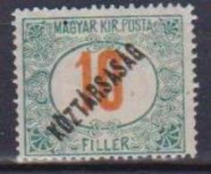 UNGHERIA  1919 SEGNATASSE SOPRASTAMPATO KOZTARSASAG  YVERT. 49  MLH VF - Ungheria