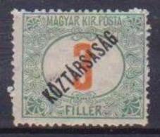 UNGHERIA  1919 SEGNATASSE SOPRASTAMPATO KOZTARSASAG  YVERT. 48  MLH VF - Ungheria