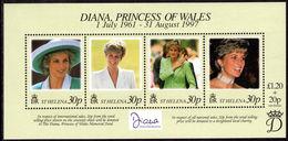 St Helena 1998 Princess Diana Souvenir Sheet Unmounted Mint. - Saint Helena Island