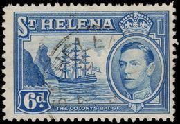 St Helena 1938-44 6d Light Blue Fine Used. - Saint Helena Island