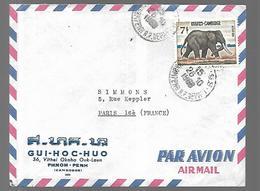 Cambodge  Lettre Par Avion De Pnom Penn Du 26  10  1968  Vers Paris - Cambodia