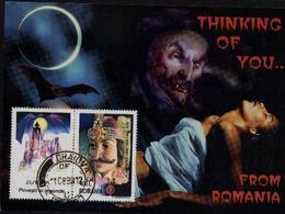 VAMPIRE / DRACULA ,Chauve - Souris,EUROPA 1997    Carte Maximum - Roumanie / Romania - Cinéma