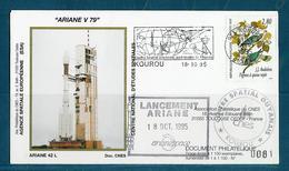ESPACE - ARIANE Vol Du 1995/10 V79 - CNES - 3 Documents - FDC & Commémoratifs