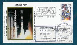 ESPACE - ARIANE Vol Du 1995/08 V77 - CNES - 3 Documents - FDC & Commémoratifs