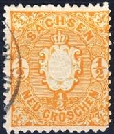 Germania Sachsen 1863 UN N. 14 N. 1 E Mezzo Arancio Usato Cat. € 3 - Sachsen