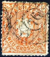 Germania Sachsen 1863 UN N. 14A N. 1 E Mezzo Rosso Arancio Usato Cat. € 6 - Sachsen