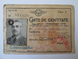 Identity Card For The Staff Of The Romanian Railwais From 1950,size=106 X 73 Mm - Europa