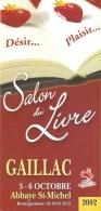 Dépliant - Programme - Salon Du Livre Gaillac - Abbaye St-Michel 5-6 Octobre 2002 - - Programmi