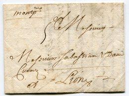 HERAULT De MONTPELLIER LAC Du 17/09/1719 Marque Lenain N°1A Taxée 5 Pour LYON - Marcophilie (Lettres)