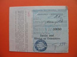 Davcni Urad.Ribnica Na Dolenjskem.PRIZNANICA - Cheques & Traveler's Cheques