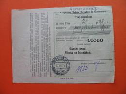 Davcni Urad.Ribnica Na Dolenjskem.Prejemnica.Kraljevina SHS - Cheques & Traveler's Cheques
