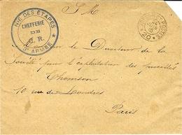 """WWI - 1915-   Enveloppe En F M     S P 20  + Cachet Caviardé  """" NIE FES ETAPES /Chefferie De G.R. / 3è ARMEE  """" - Storia Postale"""