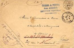 """1915- WWI - Enveloppe En F M - Du S P 150  """" TRESOR & POSTES / Aux ARMEES / SERVICE CENTRAL  """" - Marcofilia (sobres)"""