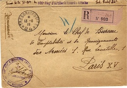 """1916- Enveloppe RECC. étiquette Rosec Du S P 24 + """" 106è Régt D'Artillerie Lourde Attelée """" - Marcofilia (sobres)"""