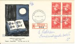 Denmark FDC 11-11-1955 Soren Kierkegard In Block Of 4 With Nice Cachet - FDC