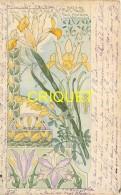 Illustrateur Art-Nouveau, Riom, Iris Et Faux Ebénier, Belle Carte - Illustrators & Photographers