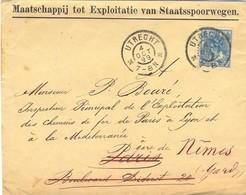 PAYS-BAS UTRECHT TàD 4 OCT 99 = 1899 - Maatschappij Tot Explotatie Van Staatsspoorwegen - Chemin De Fer De L'État - Marcofilia