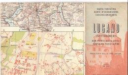 B1888 - CARTA TURISTICA DI LUGANO E DINTORNI Ed. Orell Fussli 1956/MAP/CARTA PASSI ALPINI - Carte Topografiche