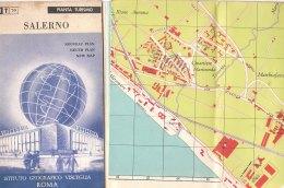 B1939 - CARTINA - PIANTA TURISMO SALERNO Istituto Geografico Visceglia Anni '60 - Carte Topografiche