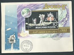 Hungary 1969 Apollo XI Space Miniature Sheet On FDC Fine Unaddressed - Hungary