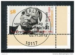 GERMANY  Mi.Nr. 3037 Willy Brandt - ESST -BERLIN -Eckrand Unten Rechts - Used - BRD
