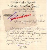 03- MONTLUCON - RARE LETTRE MANUSCRITE SIGNEE FELIX MALGRAS -FELIX MINOT-ACHAT DE PROPRIETES- 3 RUE DE PARIS-1894 - France