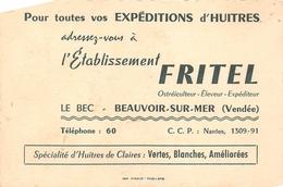 """BEAUVOIR-sur-MER   -  Carte De Visite De L'Etablissement """" FRITEL """" Ostréiculteur - Huitres - Voir Description - Beauvoir Sur Mer"""