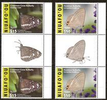 Tonga Niuafo'ou 2015 Yvertn° LP PA 5-6 Gutterpair *** MNH Cote 260 Euro Faune Papillons Vlinders Butterflies - Tonga (1970-...)