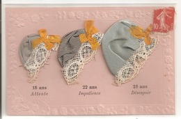 Carte Brodée - Ste Catherine -3 Bonnets, Tissus, Dentelle. - Brodées