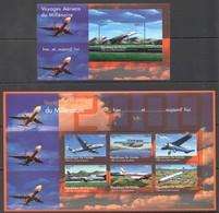 L901 DE GUINEE AVIATION VOYAGES AERIENS DU MILLENNIUM 1KB+1BL MNH - Airplanes